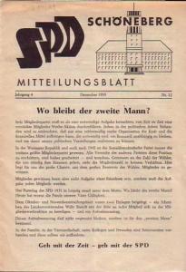 Kreisvorstand der SPD - Kreis XI-Schöneberg (Hrsg) Mitteilungsblatt der SPD Schöneberg. Jahrgang 4 Dezember 1959, Nr. 12.