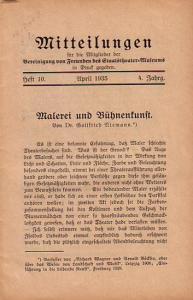 Niemann, Gottfried // Brandt, Sibylle Mitteilungen für die Mitglieder der Vereinigung von Freunden des Staatstheater-Museums in Druck gegeben. 4. Jahrgang Heft 10. April 1935