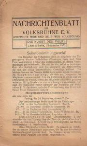 Neue freie Volksbühne: Neue freie Volksbühne - Die Kunst dem Volke. Vereinsblatt für die Mitglieder. 31. Spieljahr 1920. September - Juli. 1.- 6. Heft ohne Heft 3.