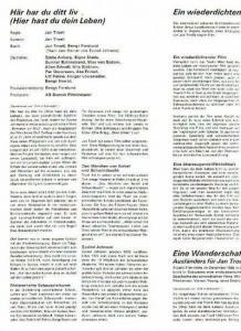 Troell, Jan (Regie) und Halldoff, Jan (Regie): Konvolut: Jan Troell (Regie) - Programmheft zu 'Här har du ditt liv' (Hier hast du dein Leben), 1967 / Film in Sweden, Heft 3,1966-67 / Biographie Ulla Sjöblon / 7 schwarz-weiße Szenenfotos // Ja...