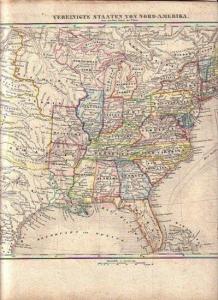 America. - Nordamerika. - Herder, B.: Landkarte: Vereinigte Staaten von Nord-Amerika. Ohne das Westgebiet der Union. Maßstab 1:12.000000. Lithographie von B. Herder aus Woerl´s Schul-Atlas, Blatt 22.