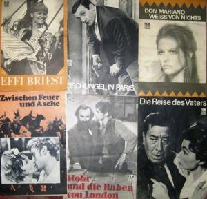 """Film für Sie. - VEB Progress Film- Vertrieb. Film für Sie. Konvolut von 37 Heften 1966 - 1967. Enthalten sind u.a.: Programmheft Nr. 77/66 zu """"Die Kinder des Don Quichote"""" sowj. Spf. // Nr. 18/67 zu """"Das Gesetz der Väter"""" sowj. Spf...."""