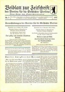 Berlin. - Hasselberg, Felix: Konvolut: Beiblatt zur Zeitschrift des Vereins für die Geschichte Berlins. Nr. 3 / 1937, Nr.1 und 3 / 1941, Nr.1 / 1942 und Nr.1 / 1943.