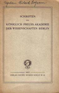 Akademie der Wissenschaften. - Schriften der Königlich Preussischen Akademie der Wissenschaften Berlin.