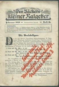 Bäckers kleiner Ratgeber. - Baer, Alfred (Schriftleiter): Des Bäckers kleiner Ratgeber. Februar 1929, Heft 18.