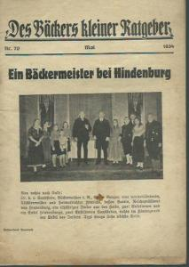 Bäckers kleiner Ratgeber. - Röder, Bernhard (Schriftleiter): Des Bäckers kleiner Ratgeber. Mai 1934, Nr. 70.