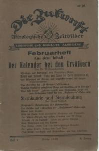 Zukunft, Die. - Die Zukunft. Astrologische Zeitbilder. Logische und okkulte Ausblicke. Jahrgang 5, Heft 2, Januar 1929.