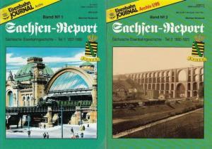 Weisbrod, Manfred: Sachsen - Report Band No. 1 und No. 2. Sächsische Eisenbahngeschichte Teil 1: 1837 - 1880 / Teil 2: 1880 - 1920.