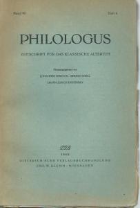 Philologus. - Johannes Stroux, Bruno Snell, Hans-Ulrich Instinsky (Herausgeber): Philologus. Zeitschrift für das klassische Altertum. Band 97, Heft 4.