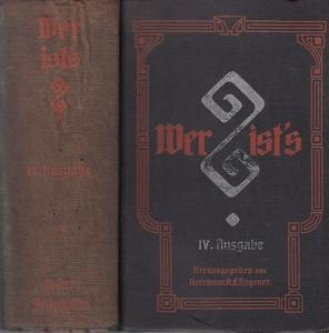 Degener, Herrmann A.L. (Hrsg.): Wer ist's? 1909 IV. (4.) Ausgabe. Zeitgenossenlexikon enthaltend Biographien nebst Bibliographien. Angaben über Herkunft, Familie, Lebenslauf, Veröffentlichungen und Werke, Lieblingsbeschäftigungen, Parteiangehörigk...