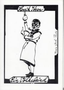 Programmheft und -zettel. Hrsg. Maxim Gorki Theater. Henrik Ibsen. Intendant Albert Hetterle. Ein Volksfeind. Spielzeit 1992 / 1993. Regie / Bühnebild Siegfried Bühr. Kostüme Dorothea Katzer. Musik Ute Falkenau .Dramaturgie Klaus Pierwoß. Darsteller Kl...