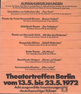 Theatertreffen Berlin 1972. Jury : Blaha, Paul / Iden, Peter / Kaiser, Joachim Dr. / Karasek, Hellmuth Dr. / Leber, Hugo / Luft, Friedrich / Michaelis, Rolf Dr. / Nagel, Ivan / Rischbieter, Henning Dr. / Schwab - Felisch, Hans . Theatertreffen in Berlin v