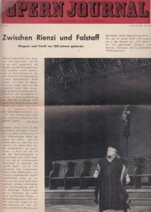 Opern Journal.- Deutsche Oper Berlin. Sellner, Gustav Rudolf (Hrsg.) - Horst Goerges (Textred.) / Wilhelm Reinking (Bildred.): Opernjournal / Das Opern Journal - Nr. 5. Zweite Spielzeit Januar 1963 - Informationen, Bilder , Essays.