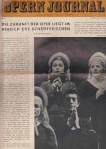 Opern Journal.- Deutsche Oper Berlin. Sellner, Gustav Rudolf (Hrsg.) - Horst Goerges (Textred.) / Wilhelm Reinking (Bildred.): Opernjournal / Das Opern Journal - Nr. 6. Zweite Spielzeit Februar 1963 - Informationen, Bilder , Essays.