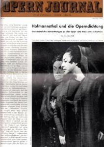 Opern Journal.- Deutsche Oper Berlin. Sellner, Gustav Rudolf (Hrsg.) - Horst Goerges (Textred.) / Wilhelm Reinking (Bildred.): Opernjournal / Das Opern Journal - Nr. 6. März 1964. - Informationen-Bilder-Essays.