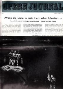 Opern Journal.- Deutsche Oper Berlin. Sellner, Gustav Rudolf (Hrsg.) - Horst Goerges (Textred.) / Wilhelm Reinking (Bildred.): Opernjournal / Das Opern Journal - Nr. 3 November 1964. - Informationen-Bilder-Essays.