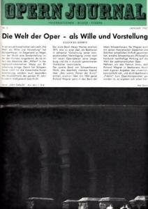 Opern Journal.- Deutsche Oper Berlin. Sellner, Gustav Rudolf (Hrsg.) - Horst Goerges (Textred.) / Wilhelm Reinking (Bildred.): Opernjournal / Das Opern Journal - Nr. 5 Januar 1965. - Informationen-Bilder-Essays.