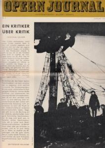 Opern Journal.- Deutsche Oper Berlin. Sellner, Gustav Rudolf (Hrsg.) - Horst Goerges (Textred.) / Wilhelm Reinking (Bildred.): Opernjournal / Das Opern Journal - Nr. 5 Januar 1966. - Informationen-Bilder-Essays.