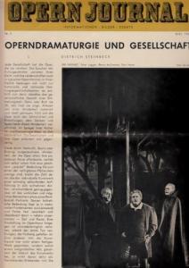 Opern Journal.- Deutsche Oper Berlin. Sellner, Gustav Rudolf (Hrsg.) - Horst Goerges (Textred.) / Wilhelm Reinking (Bildred.): Opernjournal / Das Opern Journal - Nr. 9 Mai 1966. - Informationen-Bilder-Essays.