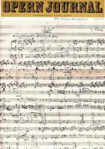 Opern Journal.- Deutsche Oper Berlin. Sellner, Gustav Rudolf (Hrsg.) - Horst Goerges (Textred.) / Wilhelm Reinking (Bildred.): Opernjournal / Das Opern Journal - Nr. 6 März 1967 - Informationen-Bilder-Essays.