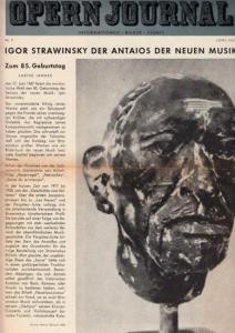 Opern Journal.- Deutsche Oper Berlin. Sellner, Gustav Rudolf (Hrsg.) - Horst Goerges (Textred.) / Wilhelm Reinking (Bildred.): Opernjournal / Das Opern Journal - Nr. 9 Juni/Juli 1967 - Informationen-Bilder-Essays.