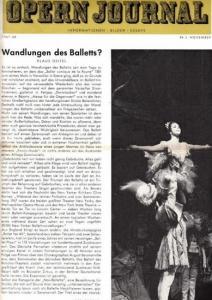Opern Journal.- Deutsche Oper Berlin. Sellner, Gustav Rudolf (Hrsg.) - Thomas-M. Langner (Textred.) / Wilhelm Reinking (Bildred.): Opernjournal / Das Opern Journal - Spielzeit 1967/68 Nr. 3 November - Informationen-Bilder-Essays.