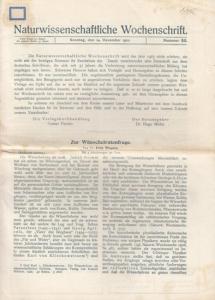 Miehe, Hugo (Hrsg.): Naturwissenschaftliche Wochenschrift Nr. 52, Dezember 1922 - Neue Folge 21. Band, der ganzen Reihe 37. Band. Aus dem Inhalt: Fritz Wiegers - Zur Wünschelrutenfrage / Karl Bertsch - Zuwachs und Alter der oberschwäbischen Hochmoore.