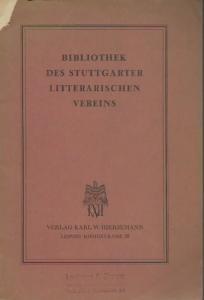 Stuttgarter Literarischer Verein. - Bibliothek des Stuttgarter Litterarischen Vereins.