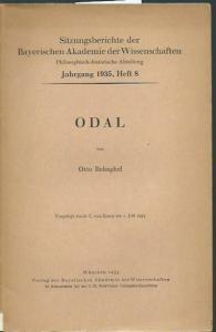 Behagel, Otto: Odal. (= Sitzungsberichte der Bayerischen Akademie der Wissenschaften, Jahrgang 1935, Heft 8).