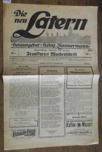 Zimmermann, Heinz: Die neu Latern. Jahrgang 1, Nr. 22, 2. September 1919. Herausgeber: Heinz Zimmermann. Humoristische, satirische und lyrische Frankfurter Wochenschrift.