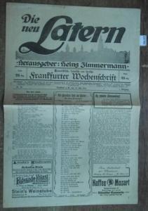 Zimmermann, Heinz: Die neu Latern. Jahrgang 1, Nr.16, 15. Juli 1919. Herausgeber: Heinz Zimmermann. Humoristische, satirische und lyrische Frankfurter Wochenschrift.