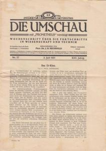 """Bechhold, J.H. (Hrsg.): Die Umschau mit """"Prometheus"""" vereinigt. XXV. Jahrg. Nr. 27, 2. Juli 1921. Wochenschrift über die Fortschritte in Wissenschaft und Technik."""