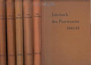 Post-Jahrbuch - Erich Körner (Hrsg.): Jahrbuch des Postwesens. Komplette Folge 1937 - 1942. 6 Jahrgänge in 5 Büchern: Jg. 1937 / Jg. 1938 / 1939 / Jg. 1940 UND 1941/1942.