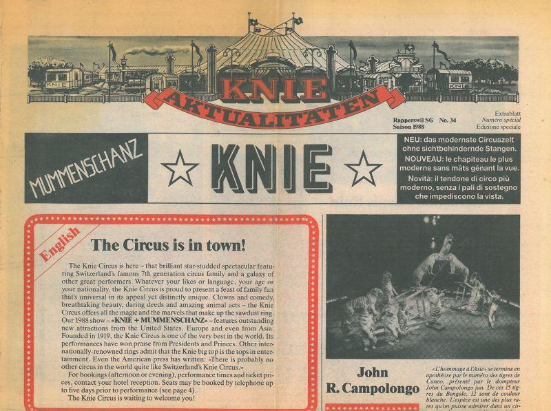 """Circus Knie """"Knie Aktualitäten"""" Zeitung des Zirkus Knie Saison 1988, No. 34 (""""Extrablatt"""")"""