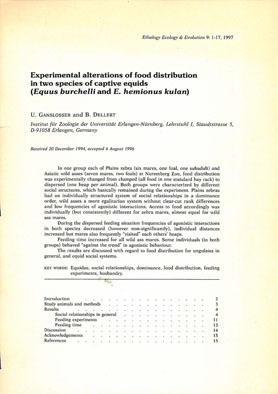 Gansloßer, U. and Dellert, B. Experimental alterations of food distribution in two species of captive equids (Equus burchelli and E. hemionus kulan)
