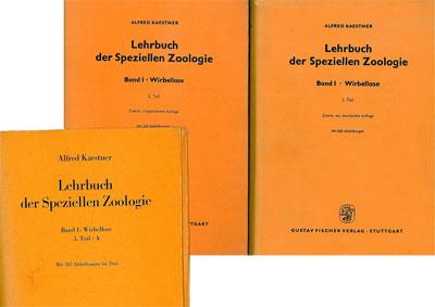 Kaestner, Alfred Lehrbuch der Speziellen Zoologie, 3 Bände; Band I 1. Teil, Band I 2. Teil, Band I 3.Teil A