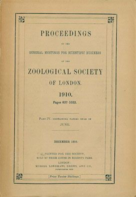 Zoological Society of London Proceedings of the General Meetings for Scientific Business of the Zoological Society of London, 1910, pages 837-1033.
