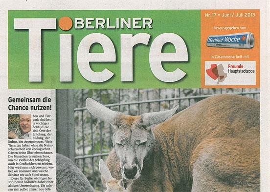 Berliner Woche; Freunde Hauptstadtzoos Berliner Tiere. Nr. 17, Juni/Juli 2013