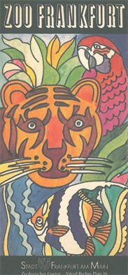 Zoo Frankfurt Faltblatt (Zeichnung Tiger und andere Tiere)