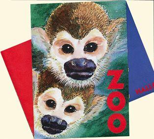 Zoo Halle Zoo Halle Kurzinfo (2 gezeichnete Affen), Material Pappe über Kreuz gefaltet