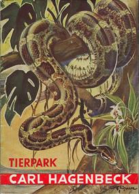 Tierpark Hagenbeck Hamburg Parkführer (Zeichnung Schlange) überwiegend sw (2 609 963-2 679 963)