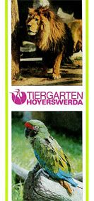 Tiergarten Hoyerswerda Faltblatt (Foto Löwe/Papagei)