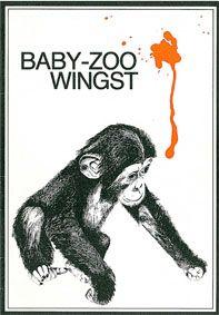 Baby-Zoo Wingst Info (Zeichnung junger Schimpanse, roter Fleck)