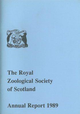 The Royal Zoo of Scotland Annual Report 1989 mit Tierbestandsliste des Edinburgher Zoo