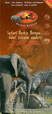 Beekse Bergen Safari Faltblatt 2003 (Elefant, Gepard, Zebra)