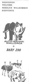 Auto-Safari Mallorca Kurzinfo, Überblick über Tierarten (Zeichnung Elefant und Nashorn, Strauße)