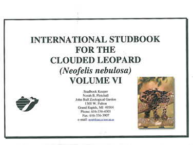 John Ball Zoological Garden Int. Studook for the Clouded Leopard (Neofelis nebulosa), Volume 6
