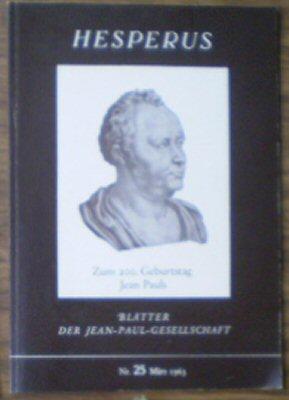 Langenmaier, Theodor (Ed.) Hesperus, Blätter der Jean-Paul-Gesellschaft, Nr. 25 März 1963