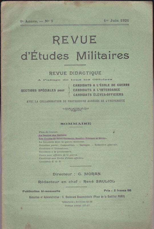 Sauliol, Rene (Ed.) Revue d'Etudes Militaires, Revue Didactique, 9 e Annee, No. 5, 1 Juin 1921