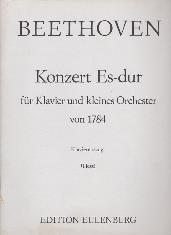 Beethoven, Ludwig van Konzert in Es-Dur für Klavier und kleines Orchester von 1784, Klavierauszug